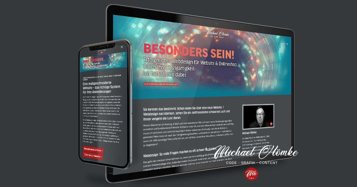 """Website für Michael Hömke – Haselberg / Wriezen. Die Präsentation wird mit WordPress als CMS eigenständig gepflegt ;) Dies ist nun der 7. Relaunch in 20 Jahren und bisher wohl auch der aufwendigste. Umstellung von der Marke """"ExusuDesign"""" auf die Personenmarke Michael Hömke."""