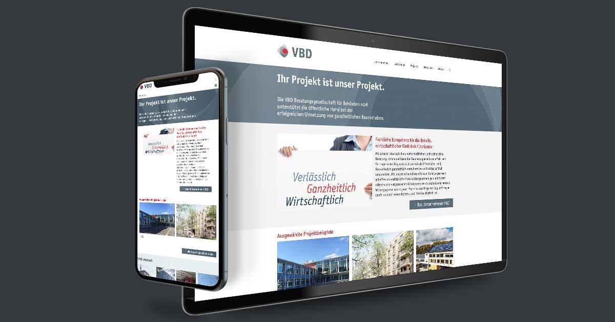 Website für die VBD Beratungsgesellschaft für Behörden mbH – Berlin. Die Website wird mit Weblication® Core Business durch den Kunden gepflegt.