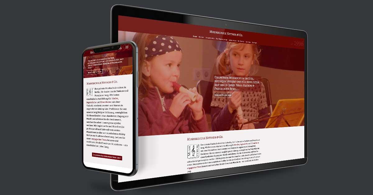 Website für die Musikschule Jüttern & Co.