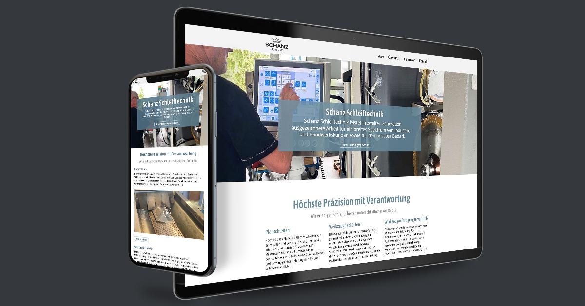 Portfolio Michael Hömke: Website für Jürgen Schanz Schleiftechnik – Stutensee. Die Website wird mit Weblication® Core Business durch den Kunden gepflegt.