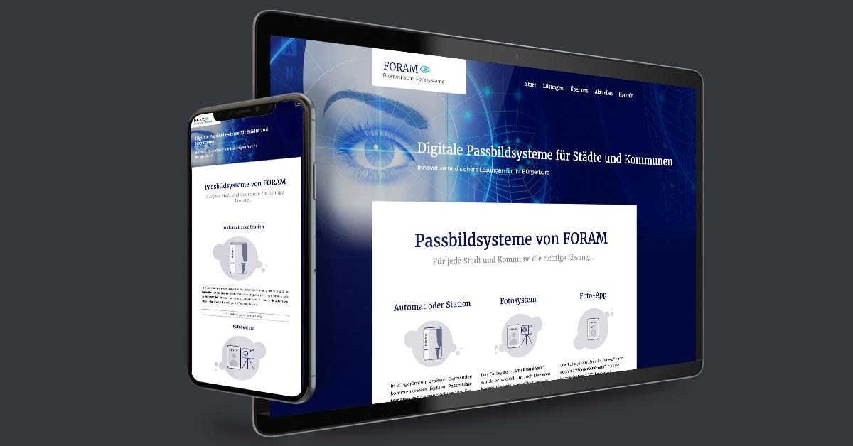 Portfolio Michael Hömke: Website für die Foram GmbH Digitale Passbildsysteme - Berlin. Die Website wird mit Weblication® Core Business durch den Kunden gepflegt.