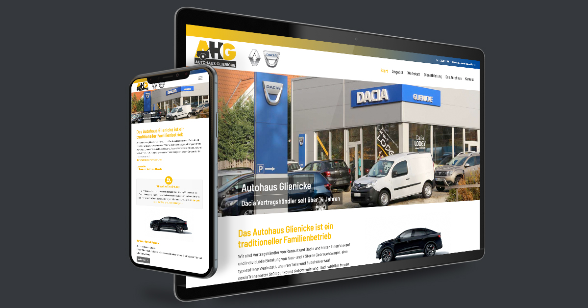 Website für das Autohaus Glienicke – Berlin. Die Website wird mit WordPress als CMS eigenständig gepflegt.
